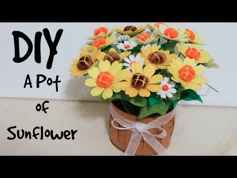 DIY Making A Pot of Sunflowers! DIY Cute Room Decor!