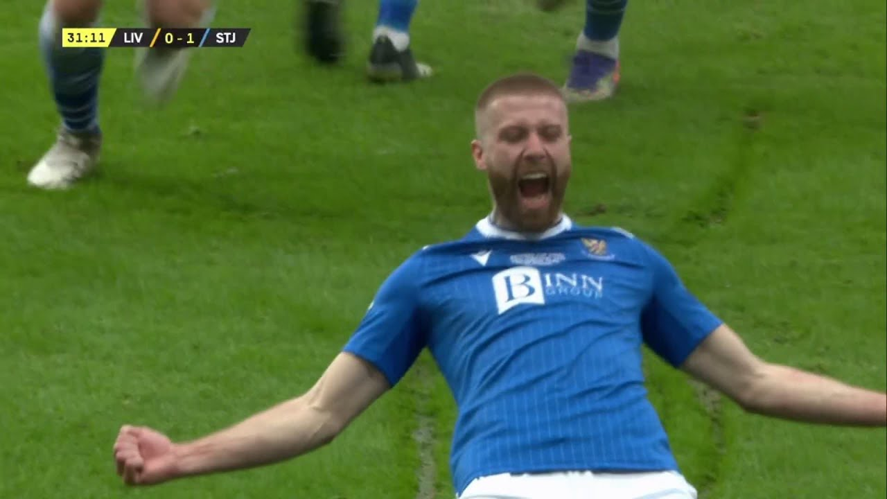 Shaun Rooney heads St. Johnstone in front against Livingston in Betfred Cup Final