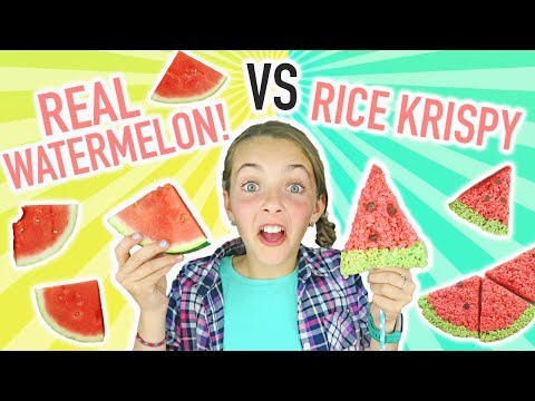 REAL Food Watermelon VS Rice Krispy Treat Watermelon Challenge | Kids Cooking and Crafts