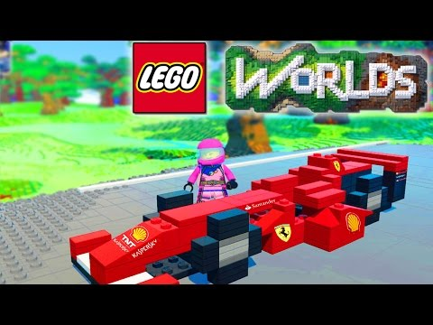 LEGO WORLDS - RACETRACK BUILD! Car Racing In Lego Land #18 (Lego Worlds)