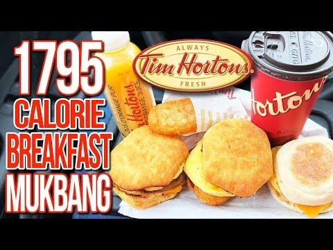 🍳 Tim Hortons Breakfast 🥓 MUKBANG 먹방   Eating Show