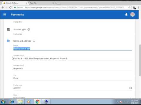 how to change Name and Address in payment profile  of AdSense Account