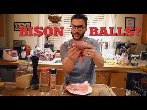 BISON BALLS!!! [AMOURETTES, PRAIRIE OYSTERS] COOKING VLOG