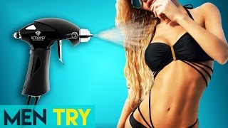 Men Try Spray Tanning for the First Time