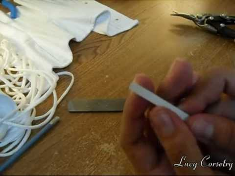Corset Making: Cutting/ Tipping flat (spring steel) bones | Lucy's Corsetry