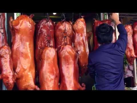 Asian street food, Phnom Penh street food, Roasted pork Chinese Style , Asian Food