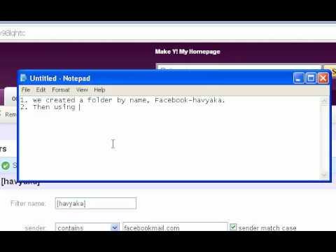 yahoo mail folder, filter settings