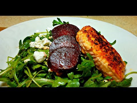 Salmon and Beet Arugula Salad (Easy Light Meal Idea)