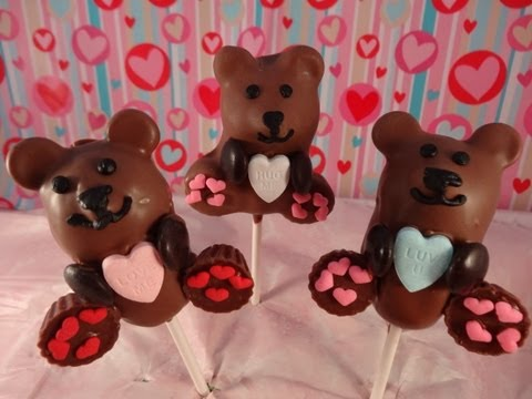 Valentine's Day Teddy Bear Cake Pops