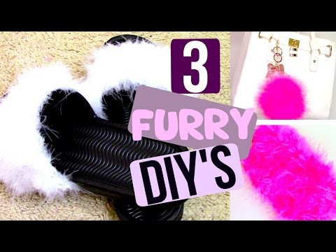 3 FURRY DIY'S! FAUX SLIDES PHONECASE AND KEYCHAIN♡ | StinnaMarie❥