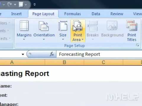 How to set a print area Excel