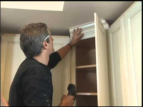 Installing Molding on the Kitchen Cabinets