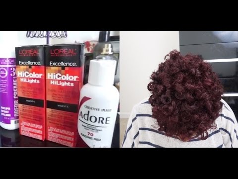 How To Color Natural Hair | No Bleaching  | Magenta/Red Color at Home  | L'oreal Hi Color