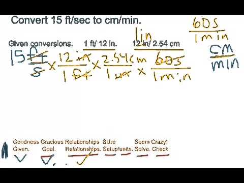 Unit conversion - ft/sec to cm/min
