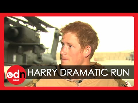 Dramatic moment Prince Harry runs for his helicopter during Afghanistan interview