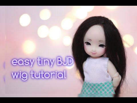 Easy tiny BJD alpaca wig tutorial