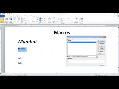 Macros Command in Microsoft Office Word in Hindi