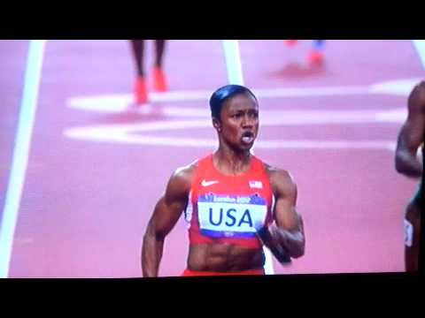USA Gold and World Record 4 x 100M Relay Carmelita Jeter Reaction
