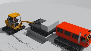 Excavator with a Chainsaw for Ice Crushing - Tracked Vehicle & Iglo Construction_ Pojazdy dla Dzieci