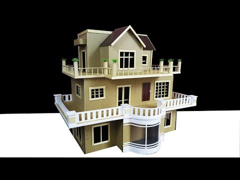 Building A Beautiful Mansion House From Cardboard ( Dream House ) Popsicle Stick House #2