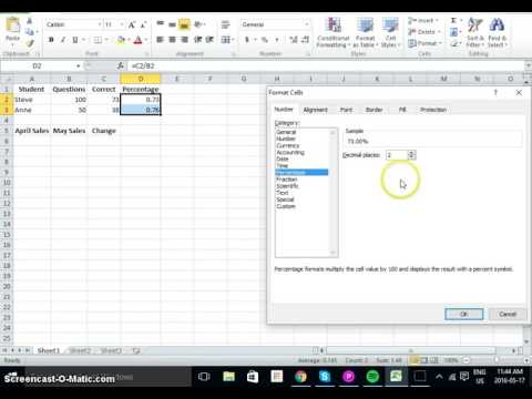 Microsoft Excel Calculating Percentages