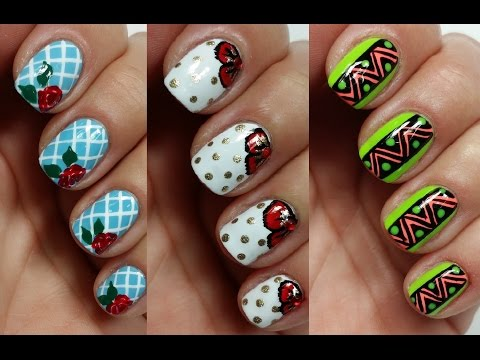 3 Easy Nail Art Designs for Short Nails | Freehand