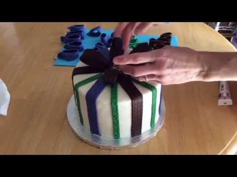 Gift Package Cake: Adding the Ribbons and Bow Assembly