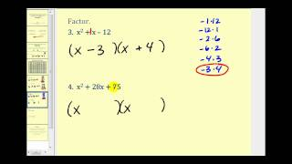 Factoring A Trinomial With Leading Coefficient Of 1 The Basics