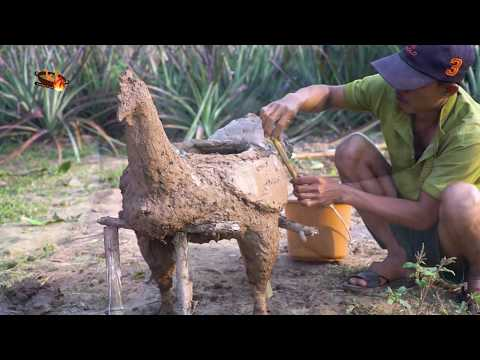 Creative Idea to Make Style Chicken Stove from Mud, Honey Roasted Chicken Cooked by Kitchen Foods