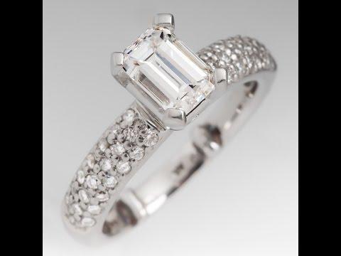 Gia Canadian 1 Carat F/Vs2 Emerald Cut Diamond Platinum Ring W/ Pave Set Diamonds