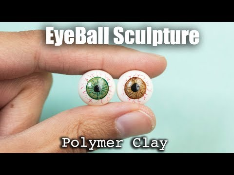 Eyeball Sculpture, Polymer Clay and Paint, Tutorial for Dolls and Halloween