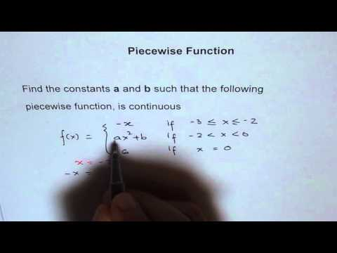 Find a and b for Piecewise Function to be Continuous