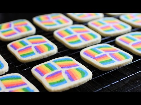 Rainbow Square Butter Cookies Recipe