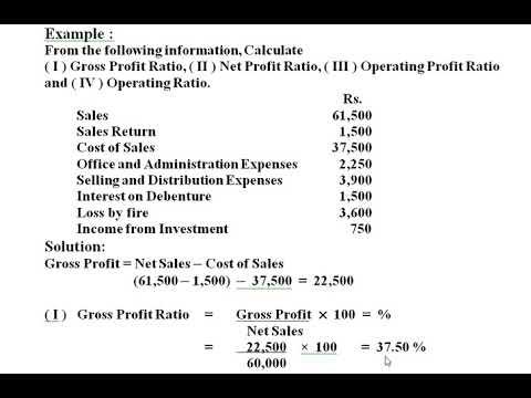 Example on Gross Profit Ratio, Net Profit Ratio,  Operating Profit ratio, Operating Ratio