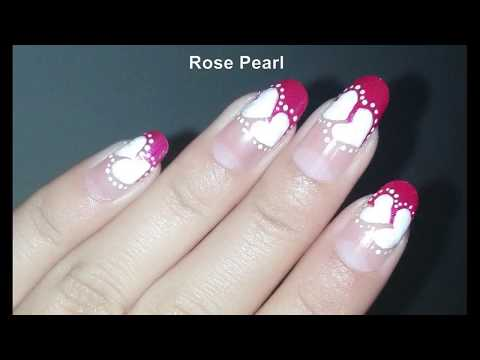 DIY Easy Pink Diagonal French Manicure with Hearts- Valentine's Day Nail Art Tutorial | Rose Pearl