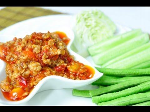 [Thai Food] Northern Thai Spicy Pork and Tomato dip (Nam Prik Ong)