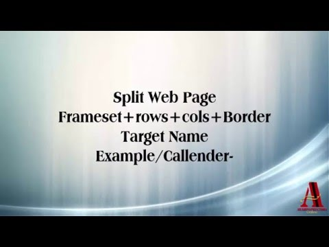 HTML5 lesson 11 Split Web Page Frameset rows cols Callender Example