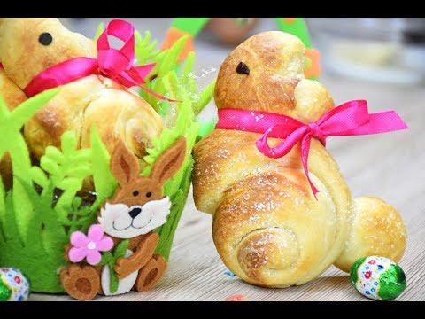 CONIGLIETTI pasquali di pan Brioche - EASY sweet EASTER BUNNY bread