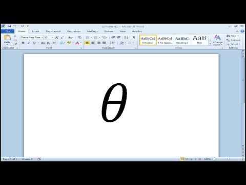 How to type Theta Symbol in Microsoft Word