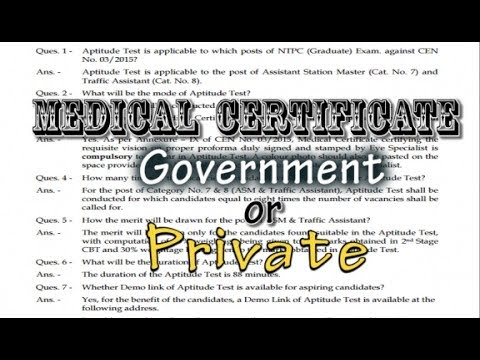 RRB NTPC - Medical Certificate Government or Private ?