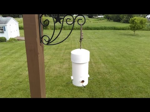 Make DIY Type 1 Cheap & Easy Small Birds Feeder Squirrel Big Grackle Crow Proof PVC Pipe & Wood Top