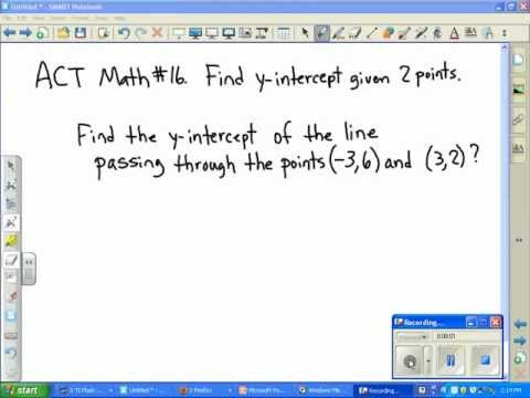 ACT Math:  Find the y-intercept, given two points.