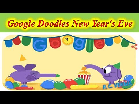 Google Doodles New Year's Eve colorful party elephant welcome 2019 celebration
