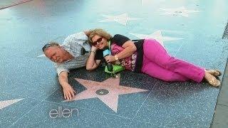 Ellen Surprises Walk of Fame Tourists