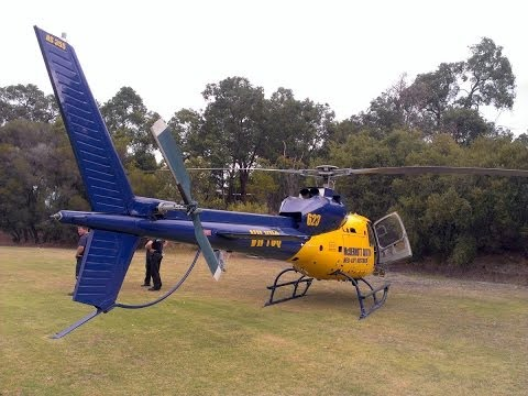 Eurocopter Twin Squirrel Air Attack takes off from Glen Forrest Oval after bushfire refuel stop