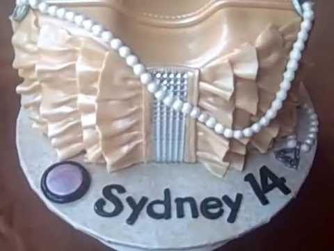 Golden Ruffles Purse Cake   by  Cakes ROCK!!!