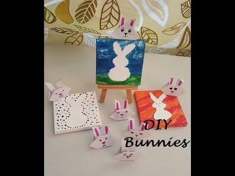 Origami Bunnies & Bunnies on canvas