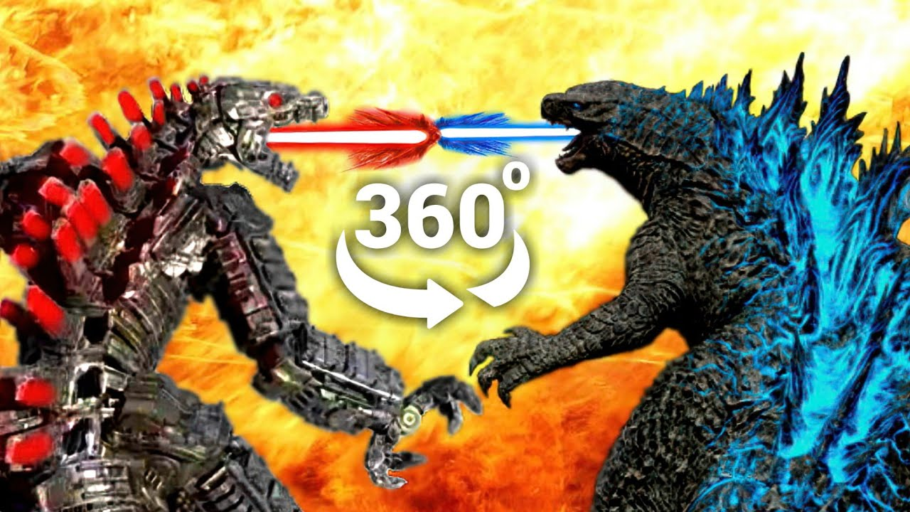 Mechagodzilla vs Godzilla vs Kong - Epic Roller Coaster 2021 (VR 360 Video)