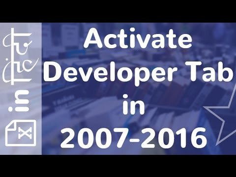 Activate Developer Tab in 2007-2016 in Excel in Hindi