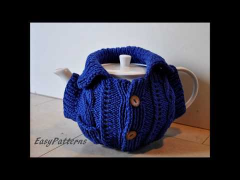 How to knit a big Tea Cosy with a pocket added